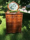 Antique Late 1800's Early 1900's Oak Finish Highboy Serpentine Dresser/Mirror