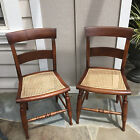 2 Antique 19th C American Side Chairs with Caned Seats - Sheraton?