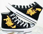 Pokemon Pocket Pikachu Black Hand Printed Lacing Up Anime Canvas Couple Shoes