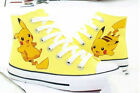 Pokemon Pocket Pikachu yellow Hand Printed Lacing Up Anime Canvas Couple Shoes