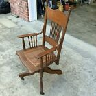 Antique High Back Desk Chair with Porcelain Casters, Spindles, and Cane!