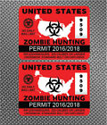 2x United States Zombie Hunting Permit Decals Die Cut Outbreak Response USA