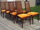 8 walnut vintage modern mid century cane front high back arch dining chair set
