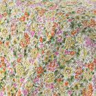 LAURA ASHLEY KING QUILT ~ FLOWERS FLORAL ~ PINK YELLOW ORANGE GREEN WHITE ~ NEW