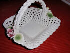 VINTAGE CAPODIMONTE PORCELAIN BASKET WITH HANDLE AND ROSES  ITALY