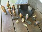 Christmas Nativity Set Stable with 12 Resin Figurines