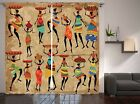 African American Art Cultural Decor Collection Ethnic Style Curtain 2 Panel Set