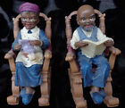 VTG HAND PAINTED OLD LADY AND MAN RESIN FIGURINES SITTING IN THEIR SWING CHAIRS
