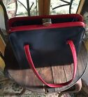VINTAGE 50s RED NAVY SNAP TOP LENNOX BAG PURSE