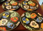 Black Fitz and Floyd Porcelain Cloisonne Peony Accent Salad Plate Set of 4