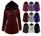Ladies Womens Fleece Jacket Duffle Style Hooded Toggle Pocket Coat Top Plus Size
