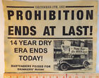 Prohibition Ends at Last Sign 11x14 gangster bootleg beer moonshine poster