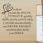 Hot Sale Life Is Short Love Quote Wall Sticker Art Vinyl Decal Home Removable