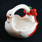 Vintage Fitz and Floyd Swan Goose Basket Red Bow Holly Hand Painted 6 1/4