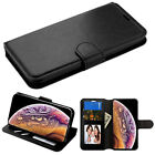 BLACK BROWN Leather Flip Wallet Protective Case Cover For Apple iPhone 7 7 PLUS