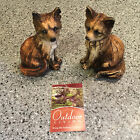 Pair of Foxes Miniature Garden Statue Animal Figurines