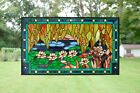 3475 x 205 Stained glass window panel Waterlily Lotus Flower Pond