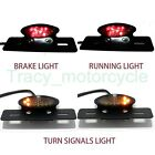 14LED BLACK MOTORCYCLE TURN SIGNAL BRAKE LICENSE PLATE INTEGRATED TAIL LIGHT 12V