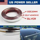 Durable 20mm Silver Chrome Styling Car Decoration Moulding Trim Strip Tape 10ft