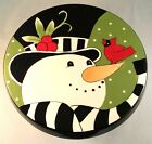 Fitz and Floyd Frosty's Frolic Snowman Pedestal Cake Plate Chip 'n' Dip Set