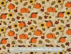 1 2 yard cotton fabric Fall Pumpkins Sunflowers leaves home decor quilting craft