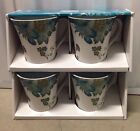 222 FIFTH ELIZA TEAL TEA CUPS / COFFEE MUGS FLORAL SET OF 4