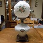 vintage Puffy Roses Milk Glass Gone with the Wind Hurricane Parlor Lamp 3 way