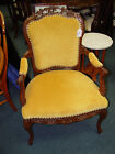 HAND CARVED VINTAGE ARM CHAIR W/ VELVET SEAT