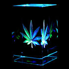 Cannabis Leaf 2D Laser Etched Crystal + Display Light Base FREE SHIPPING