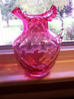 Large Fenton Cranberry Glass Pitcher Ruffled Top Edge Clear Side Handle Pattern