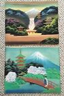 Lot Of 2 Vintage Japan 1950's Hand Painted Silk Painting Unframed