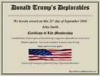 Donald Trump Deplorables Certificate Deplorable