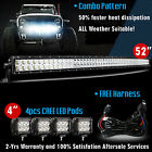 52 inch LED Light Bar Curved + 4x 4 CREE Led Pods Truck SUV 4WD Jeep Ford 50 3