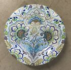 222 FIFTH Aisha Blue Appetizer Dessert Plates FLORAL SET OF 4