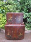 Chinoiserie 1920's 1930 Walnut Art Deco Double Cocktail Bar / Cabinet