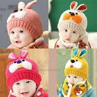 Girls Boys Baby Beanie Winter Warm Cap Knitted Hat caps and Scarf Sets Cartoon