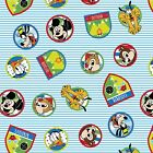 Disney Mickey  Friends Fun with friends Stripes 100 cotton Fabric by the yard