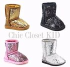Little Girls Sparkling Glitter Mid Calf Tall Winter Snow Pageant Faux Fur Boots