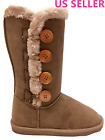 Womens Fur Mid calf 4 Buttons Faux Soft Snow Winter Flat Boot Shoes NEW 02