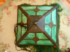 ANTIQUE Glass Hanging Light Fixture With Beaded Glass Fringe!