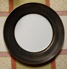 NEW w/tag Fitz & Floyd RONDELLE II SALAD/DESSERT plate.8 1/4 inch.Black/Gold/Wht