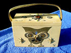 SQ CQQL Hand Painted Jeweled Owl Enid Collins Texas Original Wood Box Bag Purse