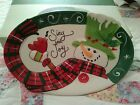 Fitz & Floyd Christmas Holly Hat Sentiment Tray Cookie Plate Platter  2013