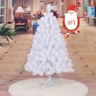 White 4Ft Artificial Christmas Tree Metal Stand Holiday Season Indoor Outdoor HP