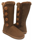 Womens Fur Lined Mid calf 4 Buttons Faux Soft Snow Winter Flat Boot Shoes
