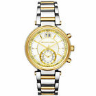 NEW AUTHENTIC MICHAEL KORS MK6225 SAWYER GOLD SILVER TWO TONE WOMENS WATCH