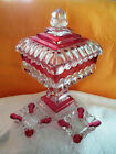 Vintage Pressed Glass Red Flash and Clear 1950s Cigarette Humidor and Ashtrays