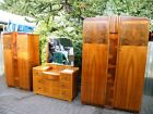 Amazing Art Deco 1920's Walnut 3 Piece Bedroom Suite 2 x Wardrobes, Vanity