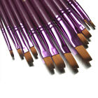 12pcs Flat Tip Artist Paint Brush Lot Set Nylon Hair Watercolor Oil Painting Pen