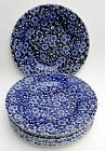 """Set of 8 Queen's Calico Blue 7"""" Side Plates"""